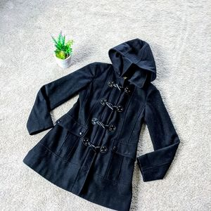 Wool Black Guess Toggle front Coat